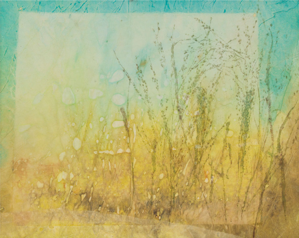 "Gold Grasses, 14""x24"" mixed media fiber art.  Layers of paper and silk create golden autumn grasses."