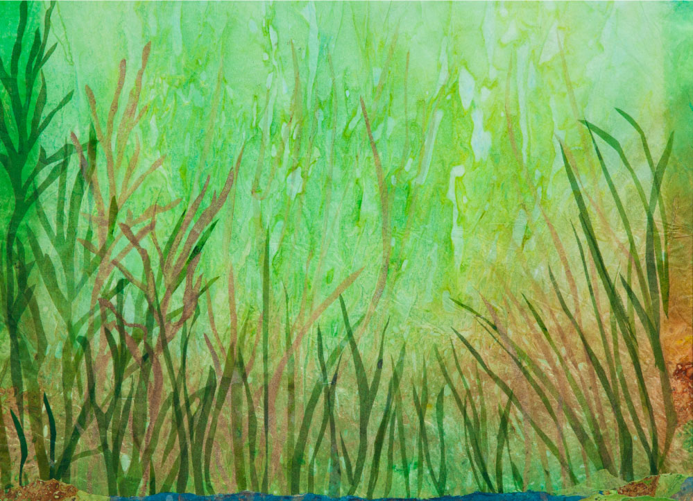 "Summer Light in Grasses, 12""x18"" mixed media fiber art.  Layers of paper and silk create textured summer grasses."