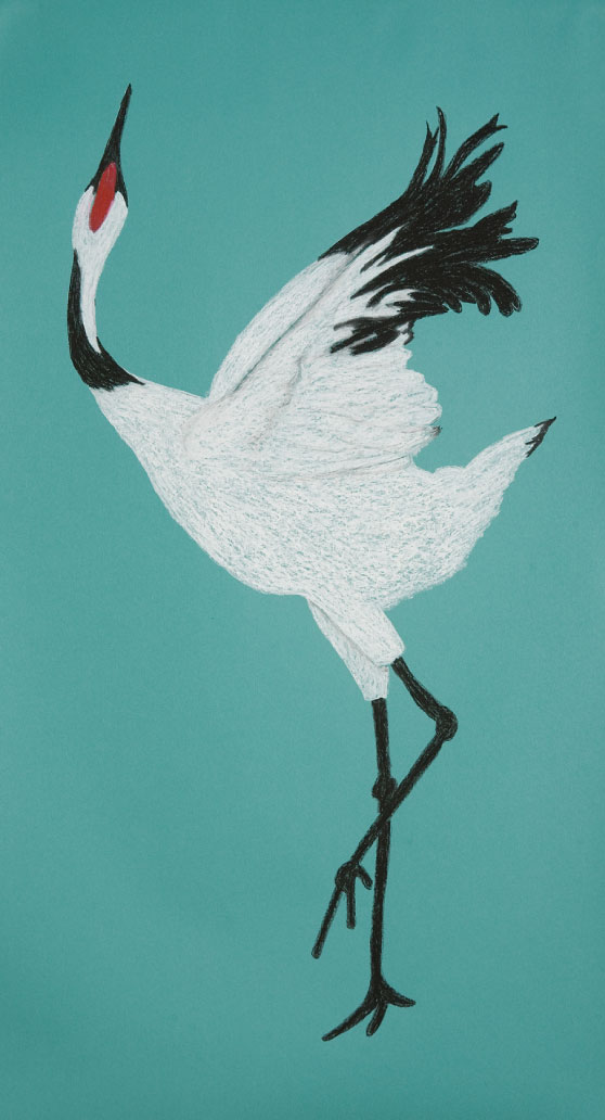 "Crane Dance. 48""x26"" drawing. The graceful crane dances."
