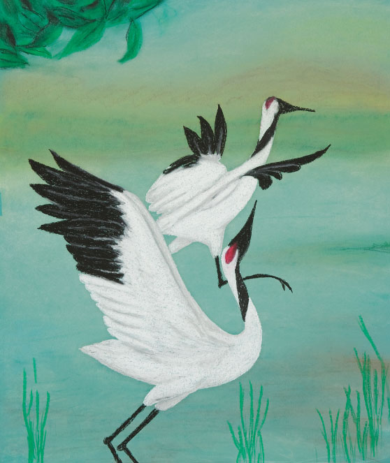"Crane Dance. 25""x26"" drawing . A pair of graceful cranes."