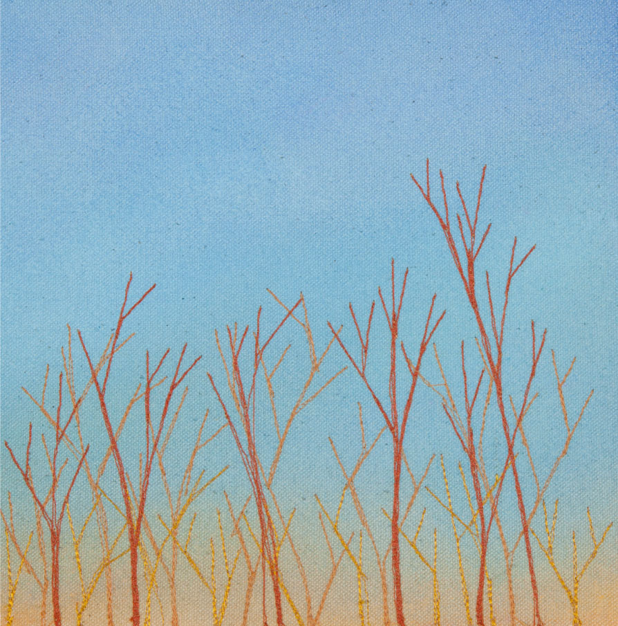 "Gold Hour Branches, 10""x10"" mixed media fiber art.  At four o'clock in early winter the light gilds the branches."