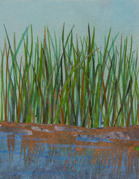 "Wetland, 12""x10"" mixed media fiber art.   Wetlands are the filters in the land and water system."