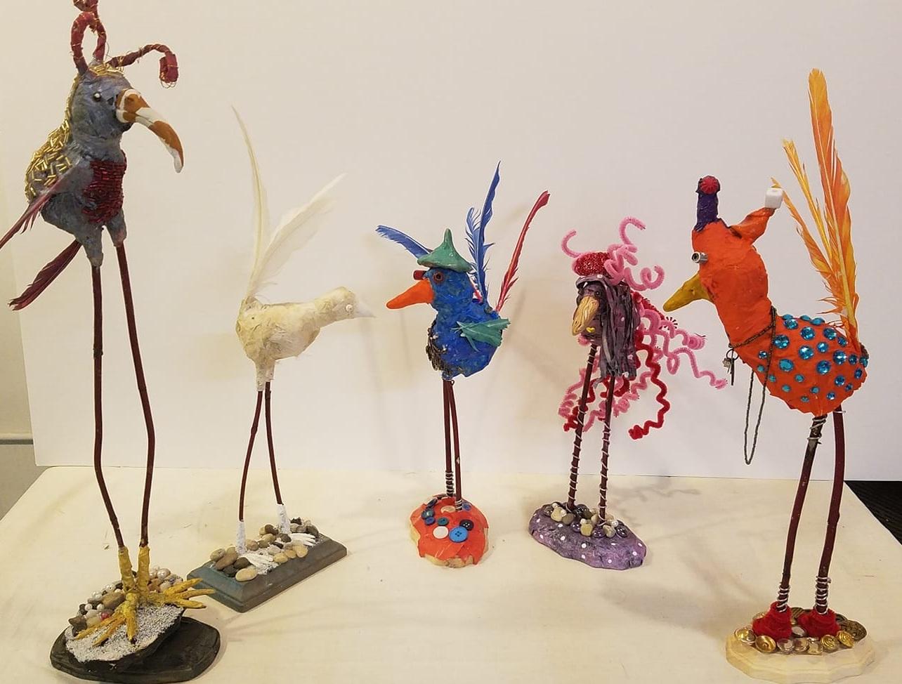 Birds - Mixed media sculpture class.