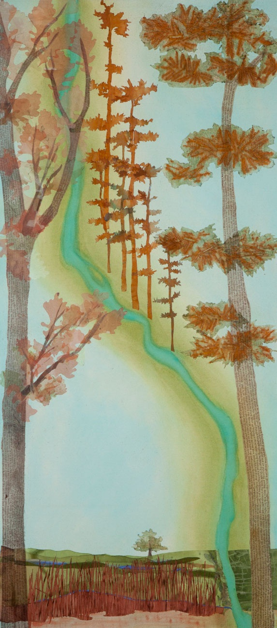 "River Before City, 47""x20"" mixed media fiber art .  Minneapolis has a history of ecologic change."