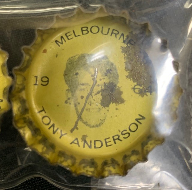1964 Coke Bottle Tops   HAVE: Adams, Anderson, Barassi, Bourke, Carroll, Crompton, Dixon, Emselle, Groom, Tas. Johnson, Leahy, Lord, Hassa Mann, Len Mann, Massey, Matthews, Miller, Nilsson, Townsend & Vagg NEED ANY OTHERS