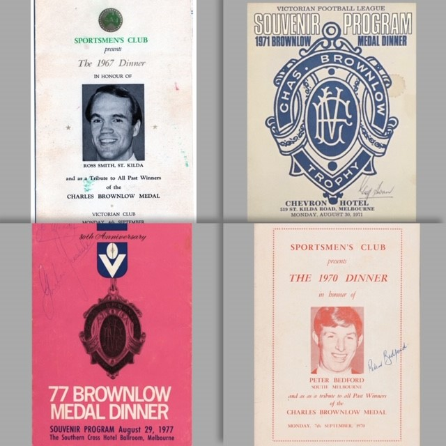Brownlow Medal Menus  HAVE: 1959, 1963, 1966, 1967, 1972-2019 NEED ANY OTHERS