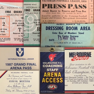 Match Day Tickets, Passes, Swing TagsAlways interested in any old or unusual V.F.L. Match Day tickets (Finals, Grand Finals etc) as well as M.F.C. passes, swing tags etc etc -