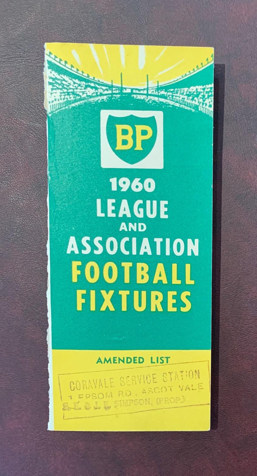 1960 B.P. Football Fixture