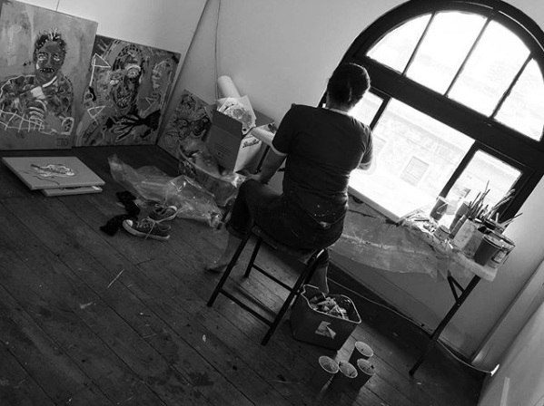 Vika Fifita in her studio, at Brunswick Street Gallery