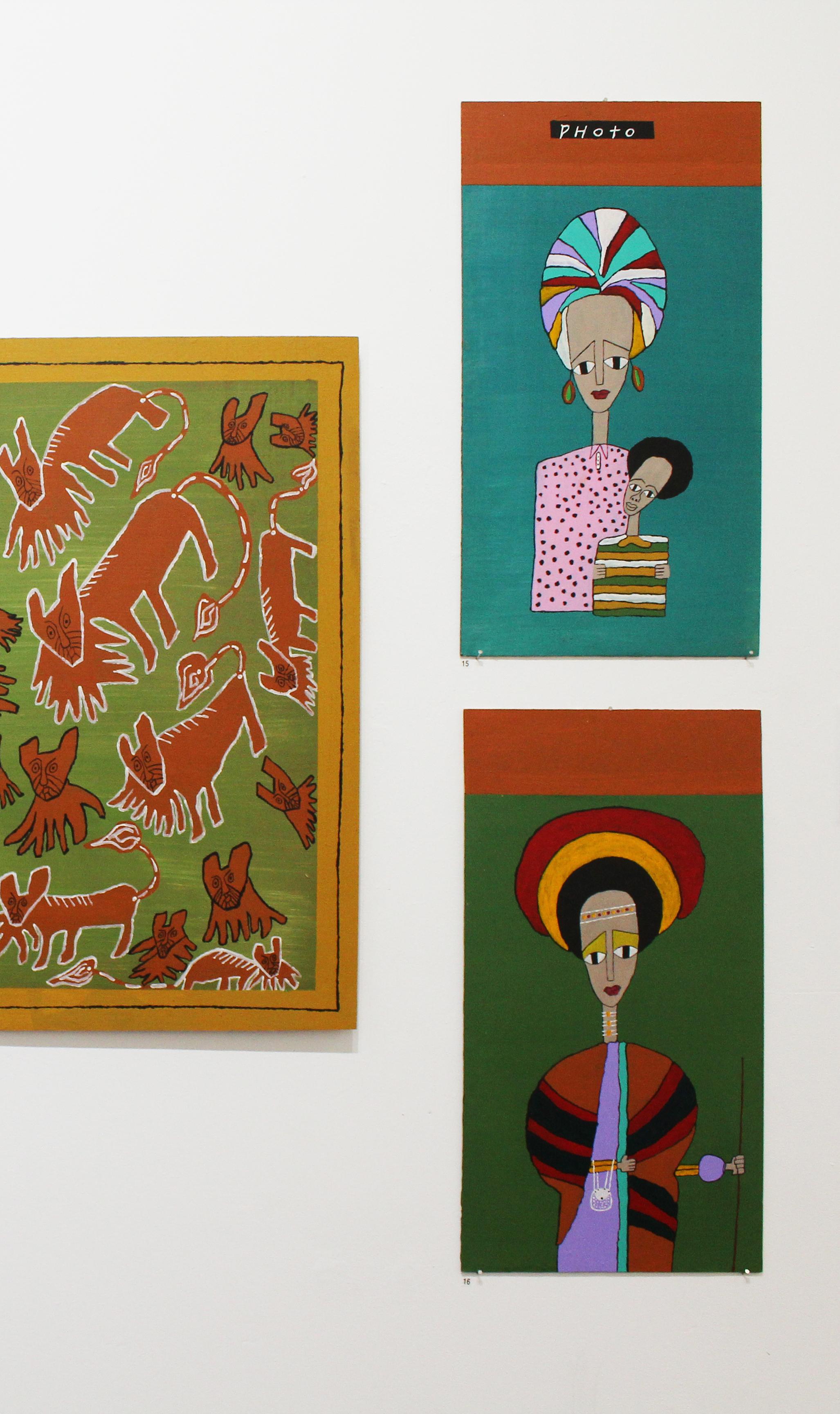 'Modern Mum', Olana Janfa, acrylic on recycled timber, 66x36cm $490,  'Oromo Woman', Olana Janfa, acrylic on recycled timber, 66x36cm $490
