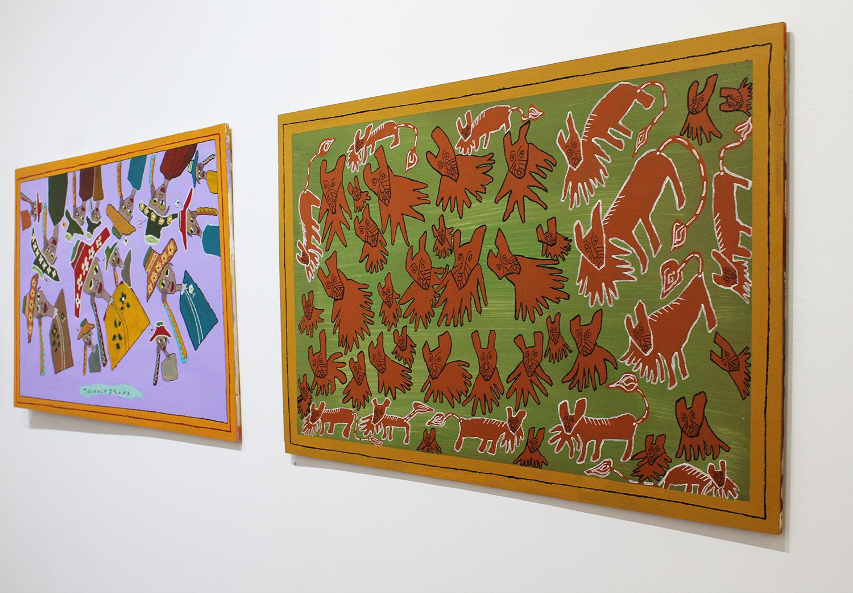 'Too Much Drama', Olana Janfa, acrylic on recycled timber, 80x120cm $1400, ' Jungle Lions', Olana Janfa, acrylic on recycled timber, 80x120cm $1400