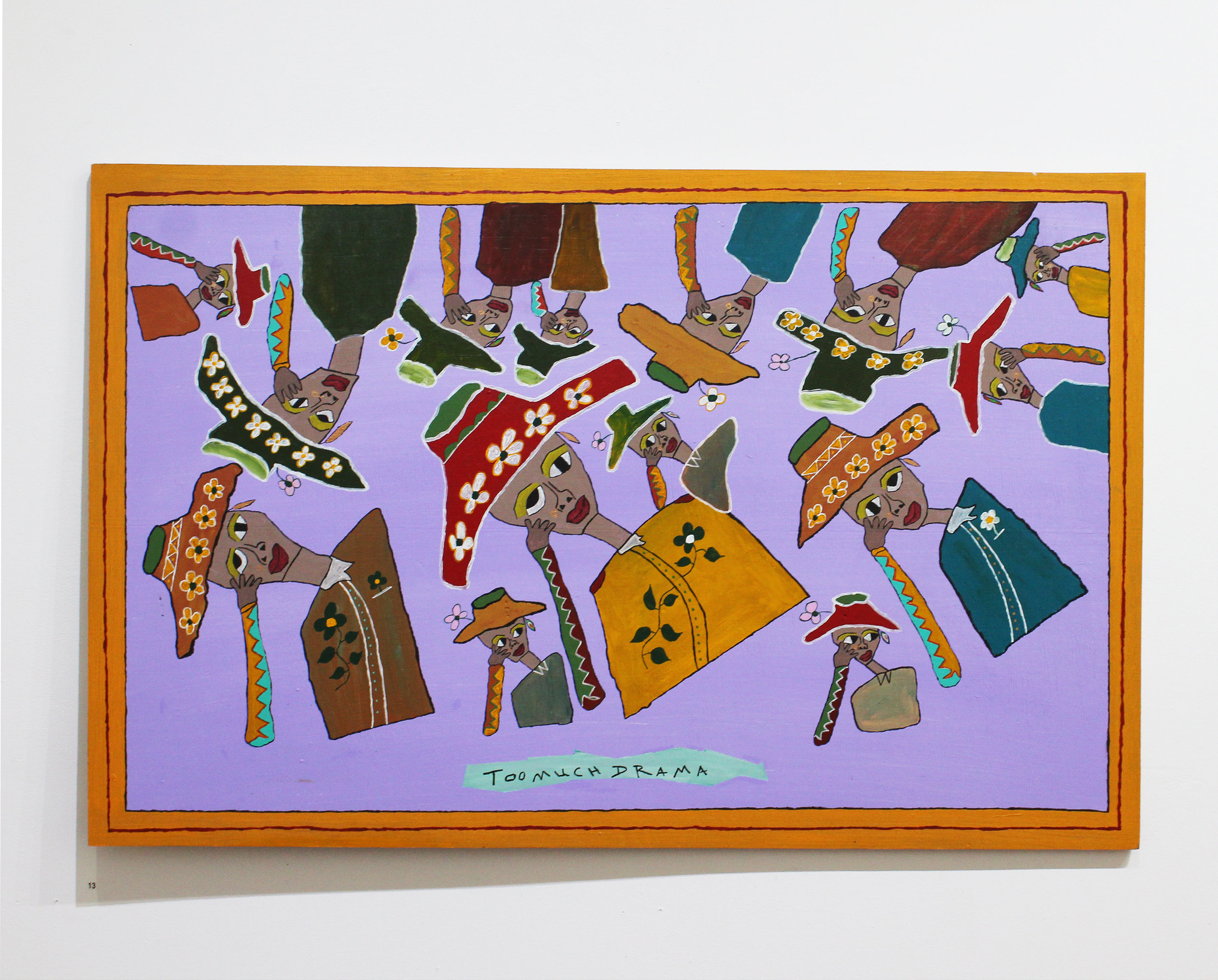 'Too Much Drama', Olana Janfa, acrylic on recycled timber, 80x120cm $1400