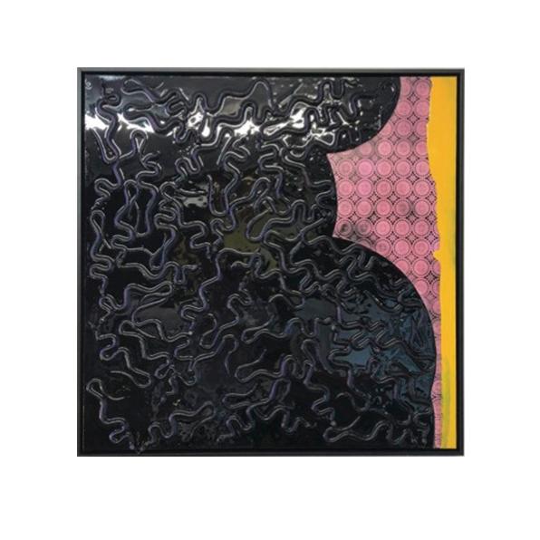 'bedroom', mixed media on canvas, 91x91cm $1200