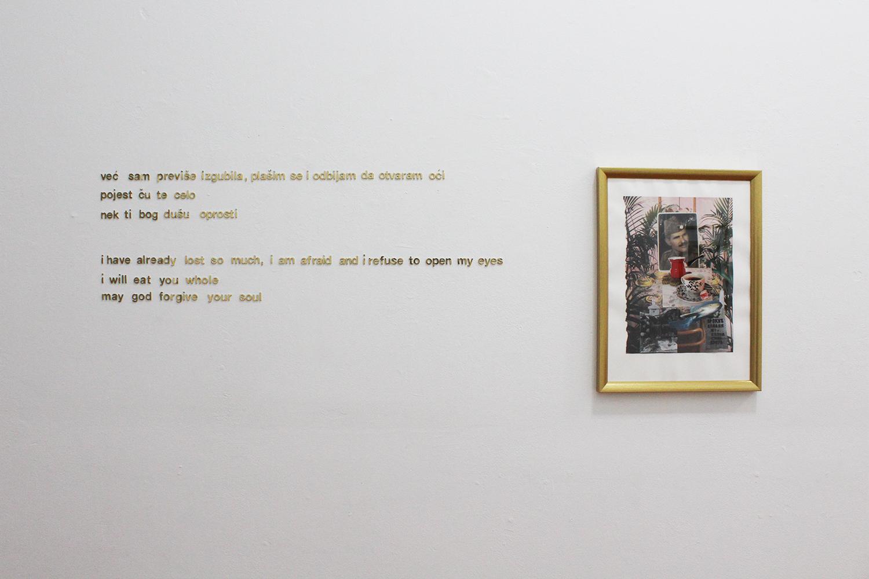 (L–R): Poem by the artist, 'Ratluk / Turkish Delight', 2018, photocollage, 29.7x40cm (unframed), 30x40cm (framed), $980