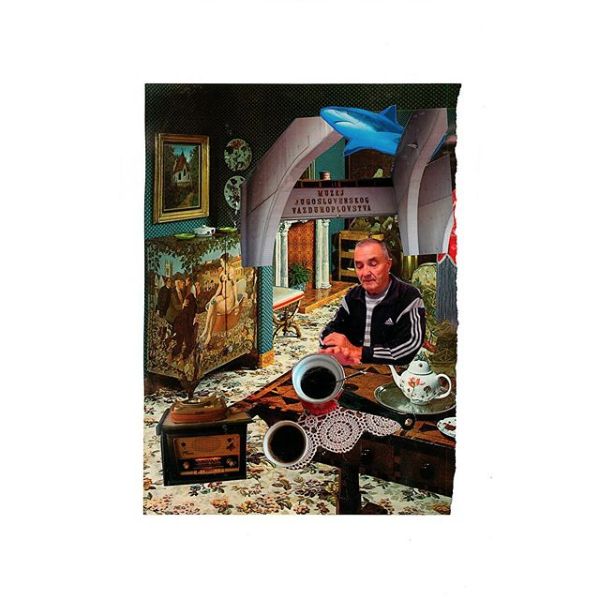 'Deda tebe nešto kaže / Grandfather is talking to you', 2018, photocollage, 29.7x40cm (unframed), 30x40cm (framed), $980