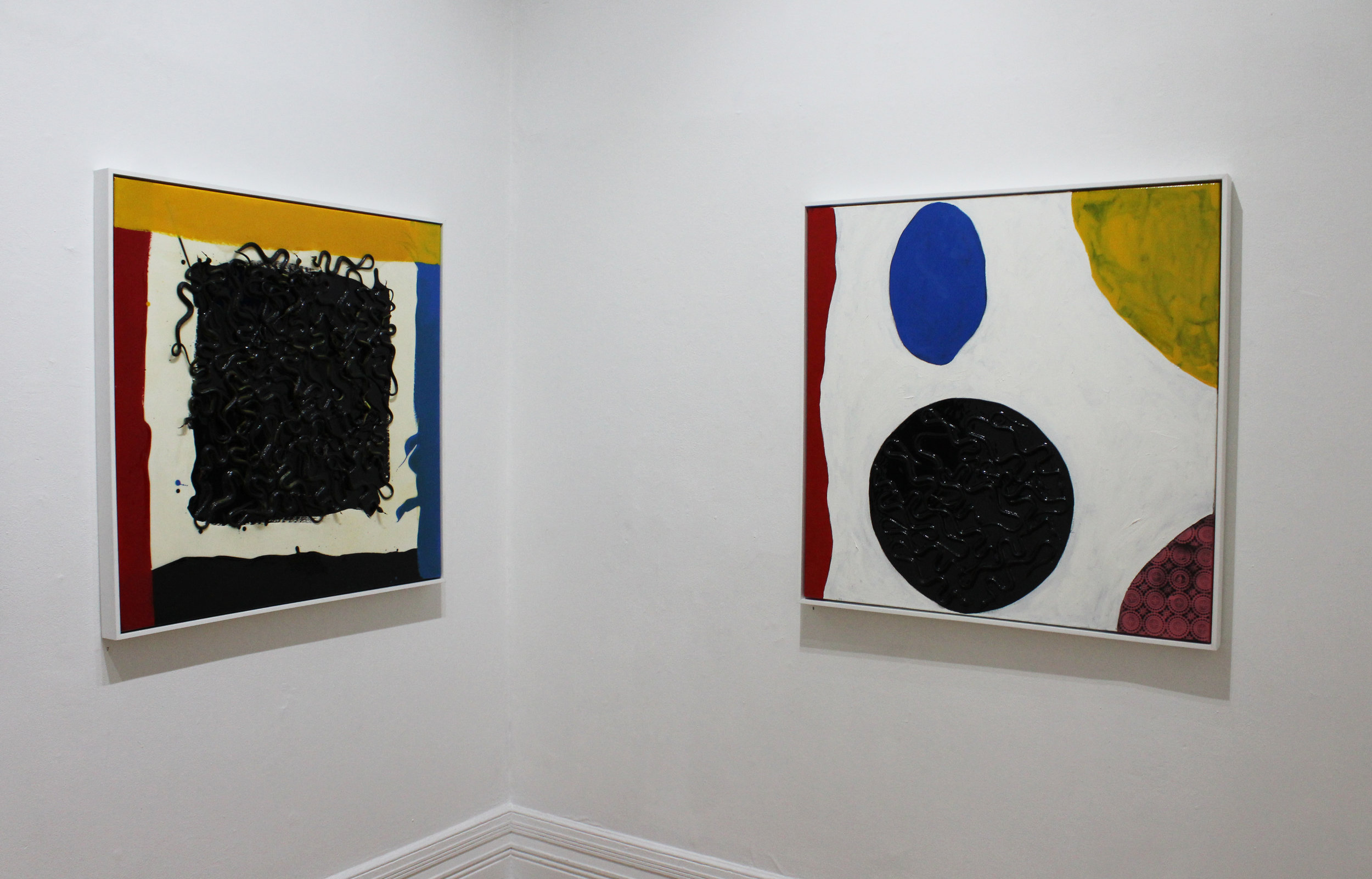 (L–R): 'primary', mixed media on canvas, 91x91cm (framed) $1200, 'interior', mixed media on canvas, 91x91cm (framed) $1200
