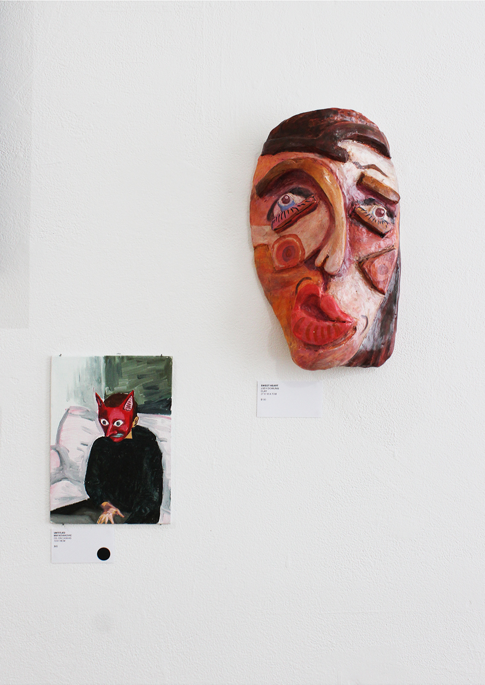 From left to right: Mia Novakovic,  Untitled , oil on canvas board, 13x18cm; Judy Dowling,  Sweet Heart,  clay, 27x16x7cm.