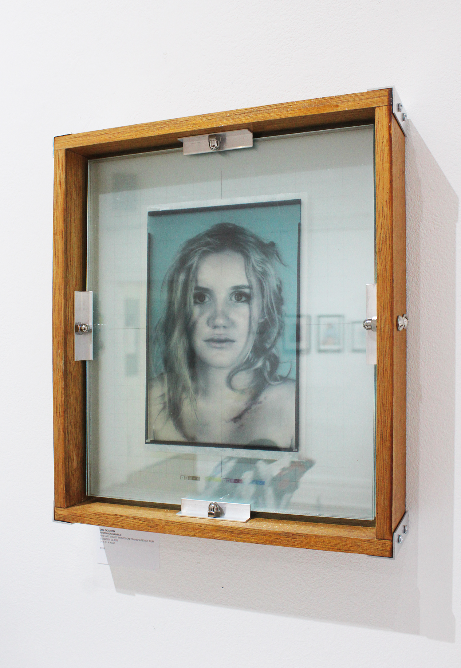 Rhiannon Gamble,  Dislocation , fine art ink jet prints on transparency film between glass, 24x31x4cm
