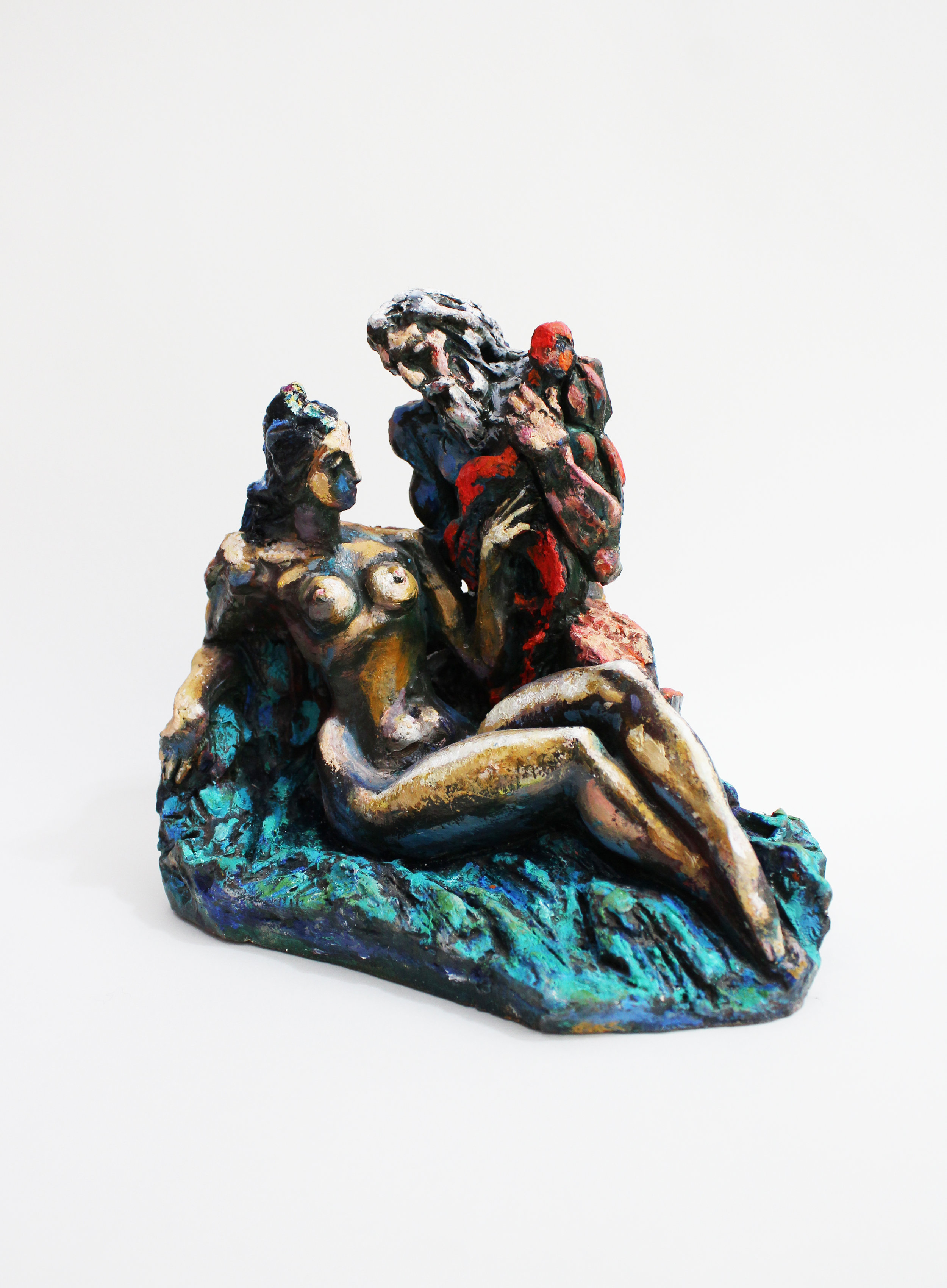 'Diana and Zeus', Alex and Ruv Nemirovsky, oil paints on fired clay, 26x20x17cm, $850
