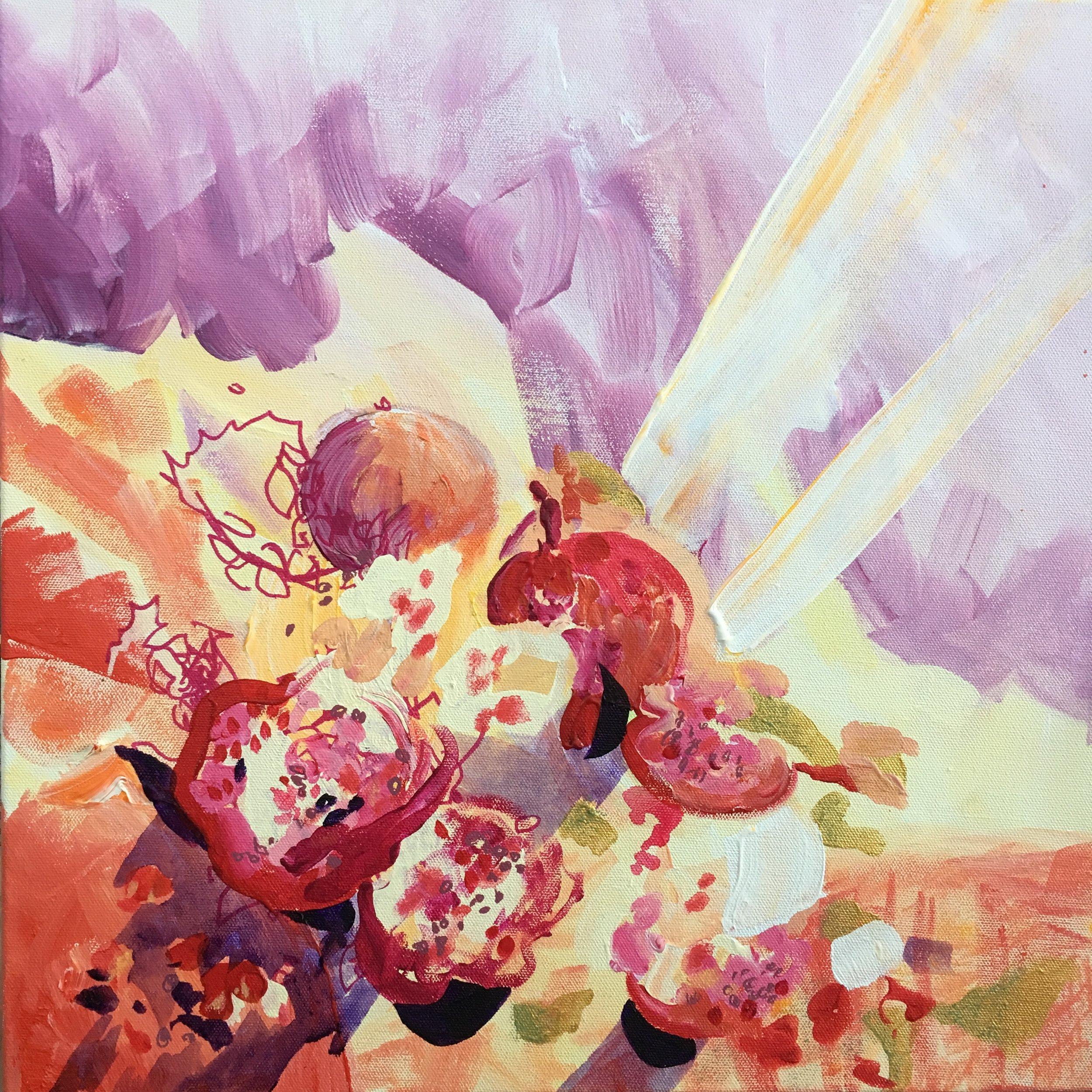 Rose Wintergreen Heart Bursts Like Pomegranate_acrylic on 18 x18%22 canvas, Rose Wintergreen 2019.jpg