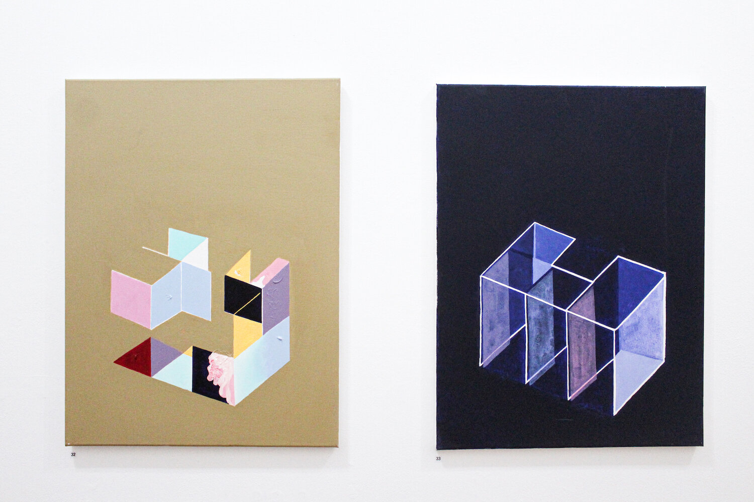 From left to right: Jessica You,  Rectangular Space,  acrylic on canvas, 45.5x61.5cm;  Extent  acrylic on canvas, 45.5x61.5cm.