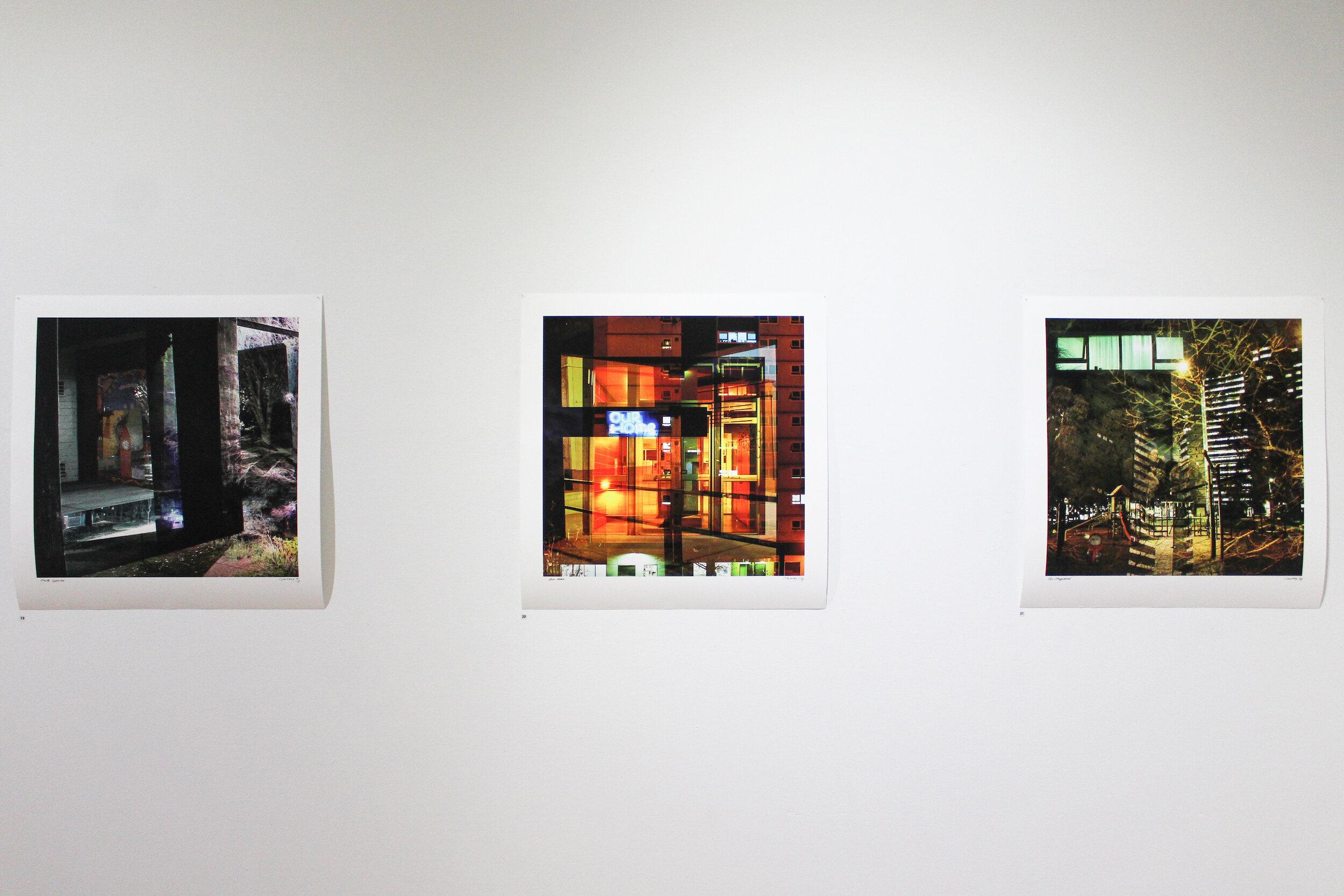 Chris May.  Dark Spaces , giclée print, 60 x 60cm,  Our Home , giclée print, 60 x 60cm,  The Playground , giclée print, 60 x 60cm