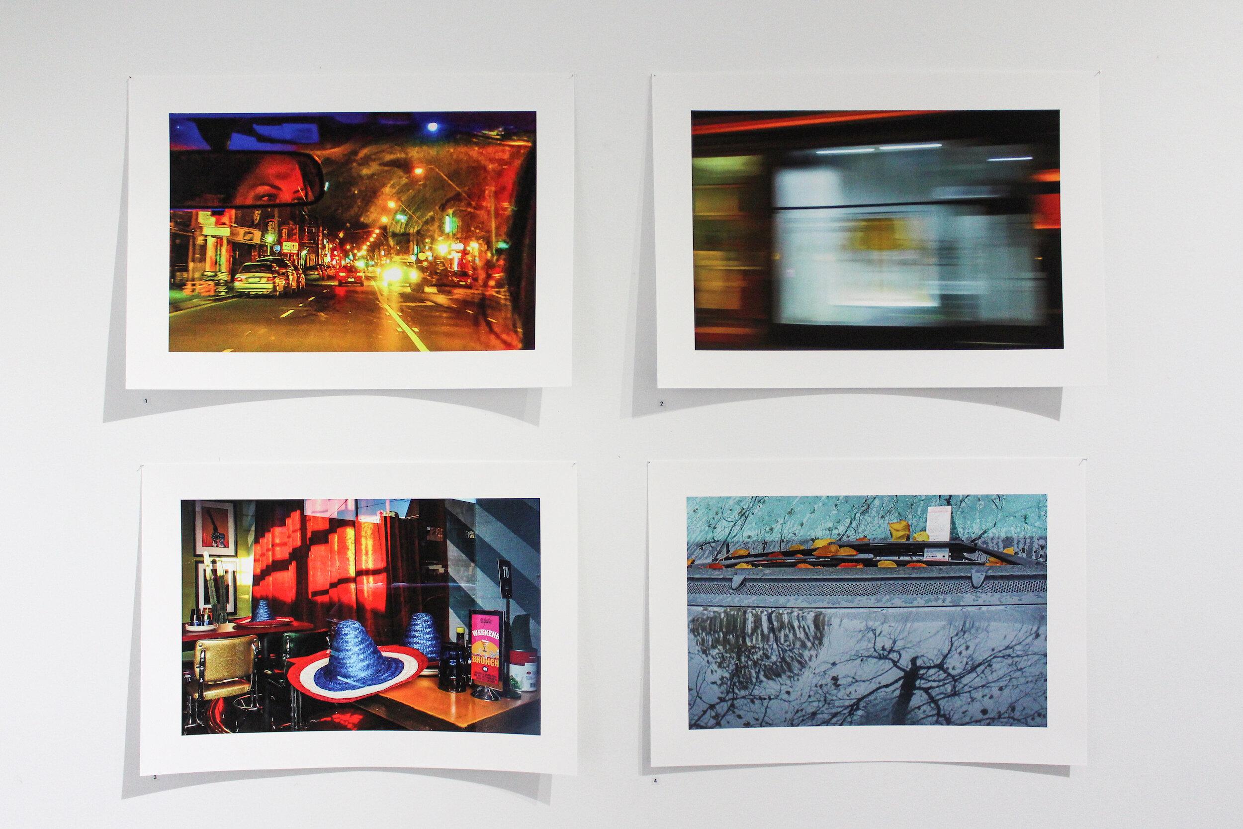 Tony Bajirnow.  Johnston Street , giclée print, 49 x 32cm;  Window   Blurs , giclée print, 49 x 32cm;  The   Restaurant , giclée print, 49 x 32cm;  Parking   Ticket , giclée print, 49 x 32cm