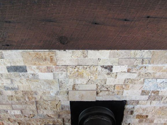 Custom Barnwood Fireplace Mantel and Stone Tile Fireplace