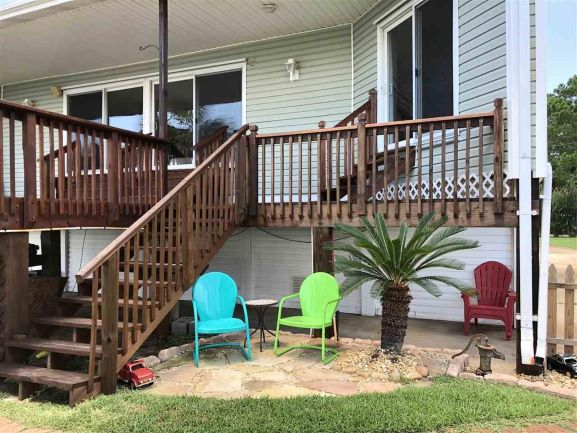 Build Deck Stairs, Deck Staining, Drainage and Flagstone Landscape