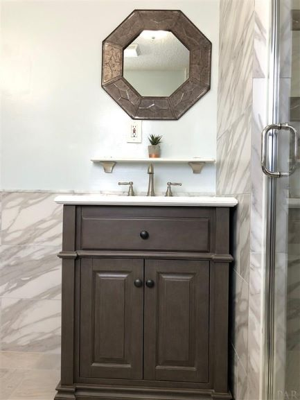 Bathroom Vanity Install, Tile Floor, Shower and Wall, Tile Shelf, Mirror Hang, Painting