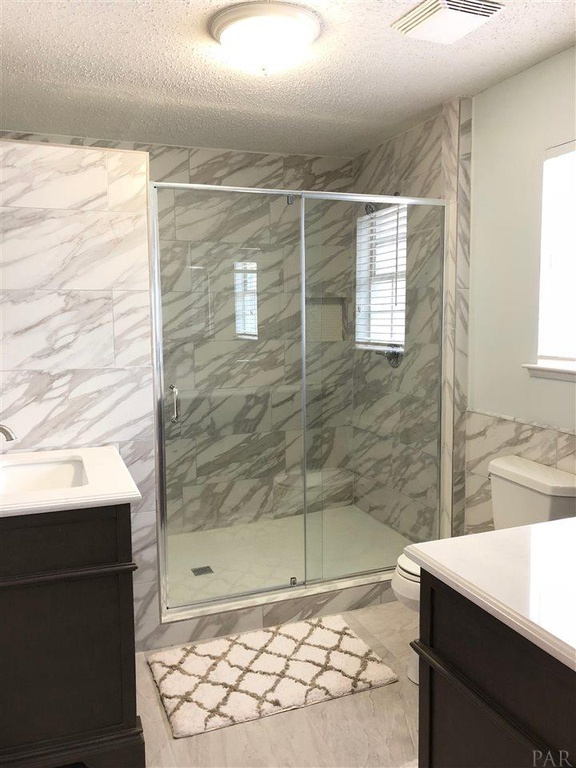 Tile Bathroom and Shower, Penny Tile Shower Floor, Recessed Shower Shelf and Shower Layout Remodel