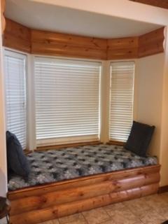 Bay Window Bench Log Siding Storage