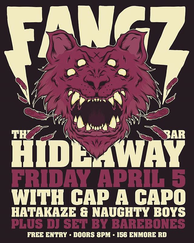 Announcing our Friday night residency! Every Friday in April at @thehideawaybar for absolutely free! Swipe across to check out the line ups.  #LiveMusicAintDead #FANGZ #14U14M3 #Friday #PunkRock #Residency  Poster and Design by: @splegs