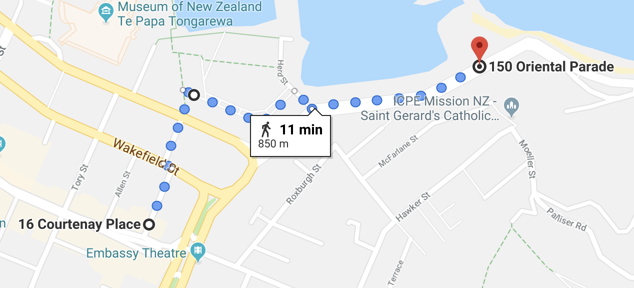 Lōemis 2019 Solstice Procession route. Start at Corner of Blair St and Courtenay Place.