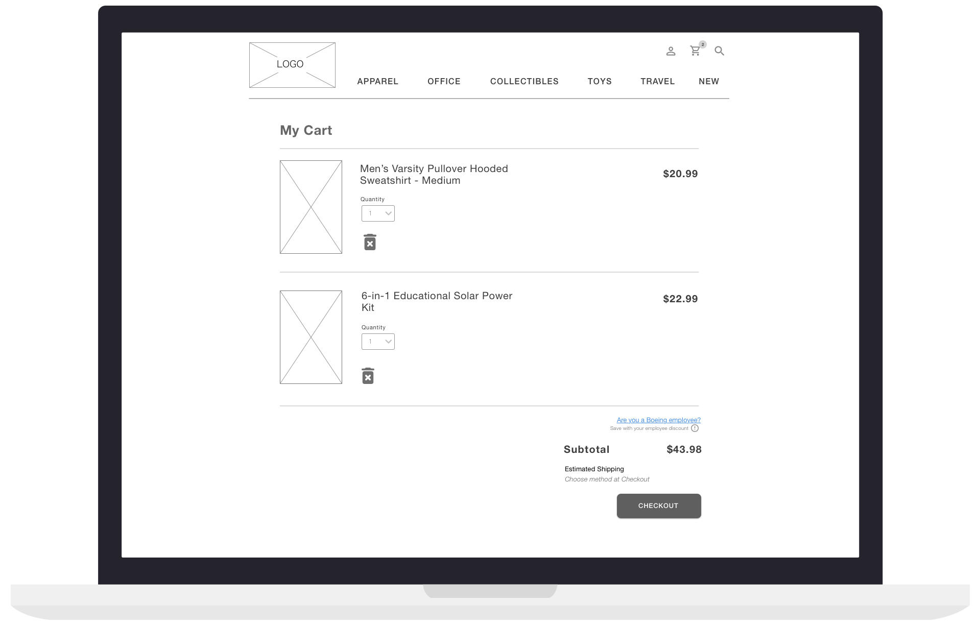 When they're ready to checkout, users can easily view all products in their cart with corresponding prices. Again, big photos and visible prices are important to my user. And, here they can choose to validate their employee discount and save some money!