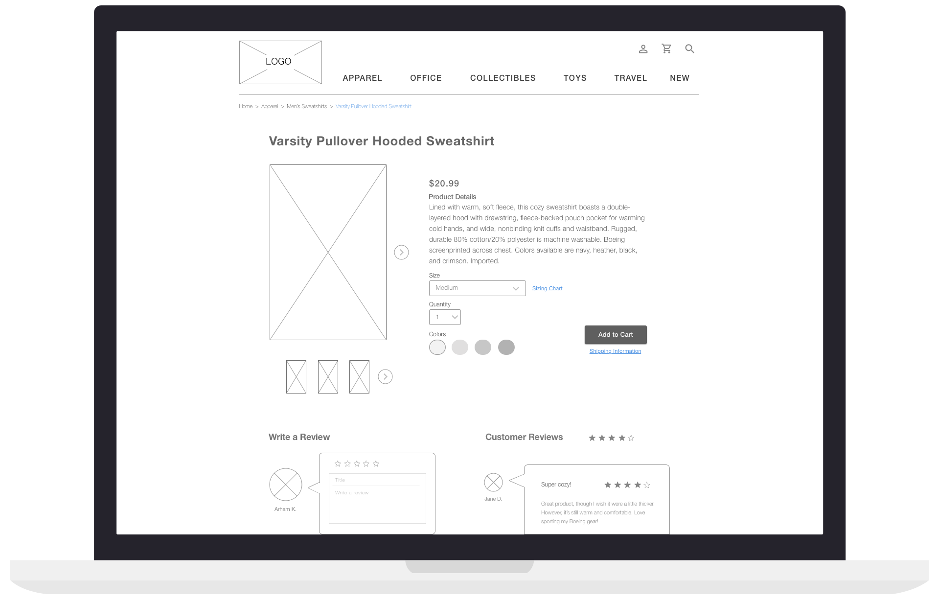 A product description is important to my users, so it's displayed here alongside a large photo, with multiple pictures to view—another desire from the users. With reviews at the bottom, our users will find all the info they need about a product on this page.