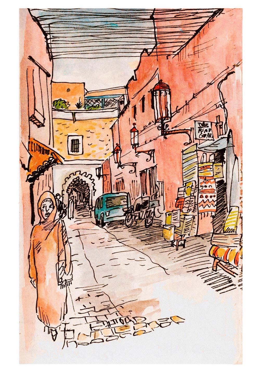 Dibujo de  Xavier Krauel  cuando vino a Marrakech con nosotras en el 2018