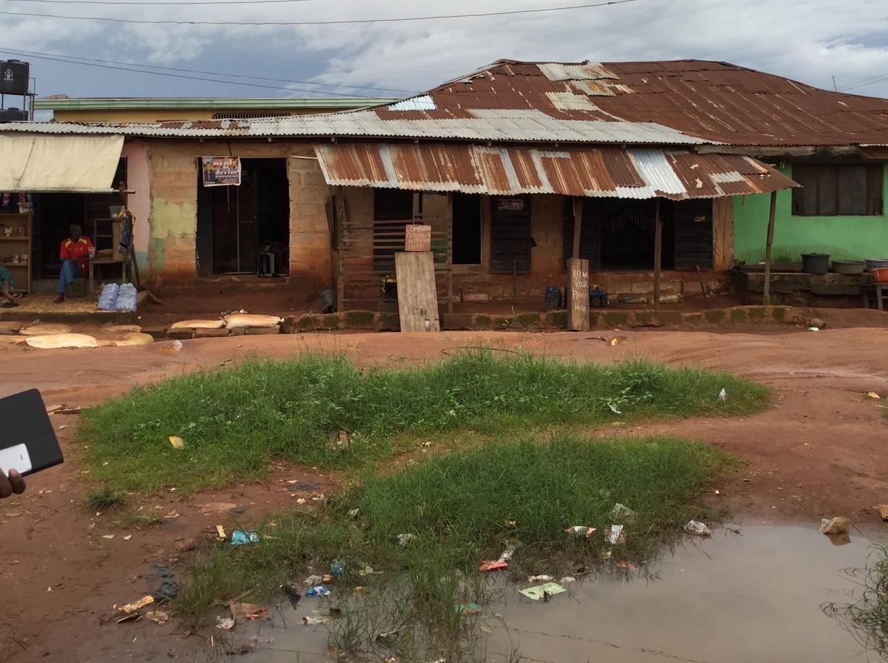 Typical village street in Nigeria.
