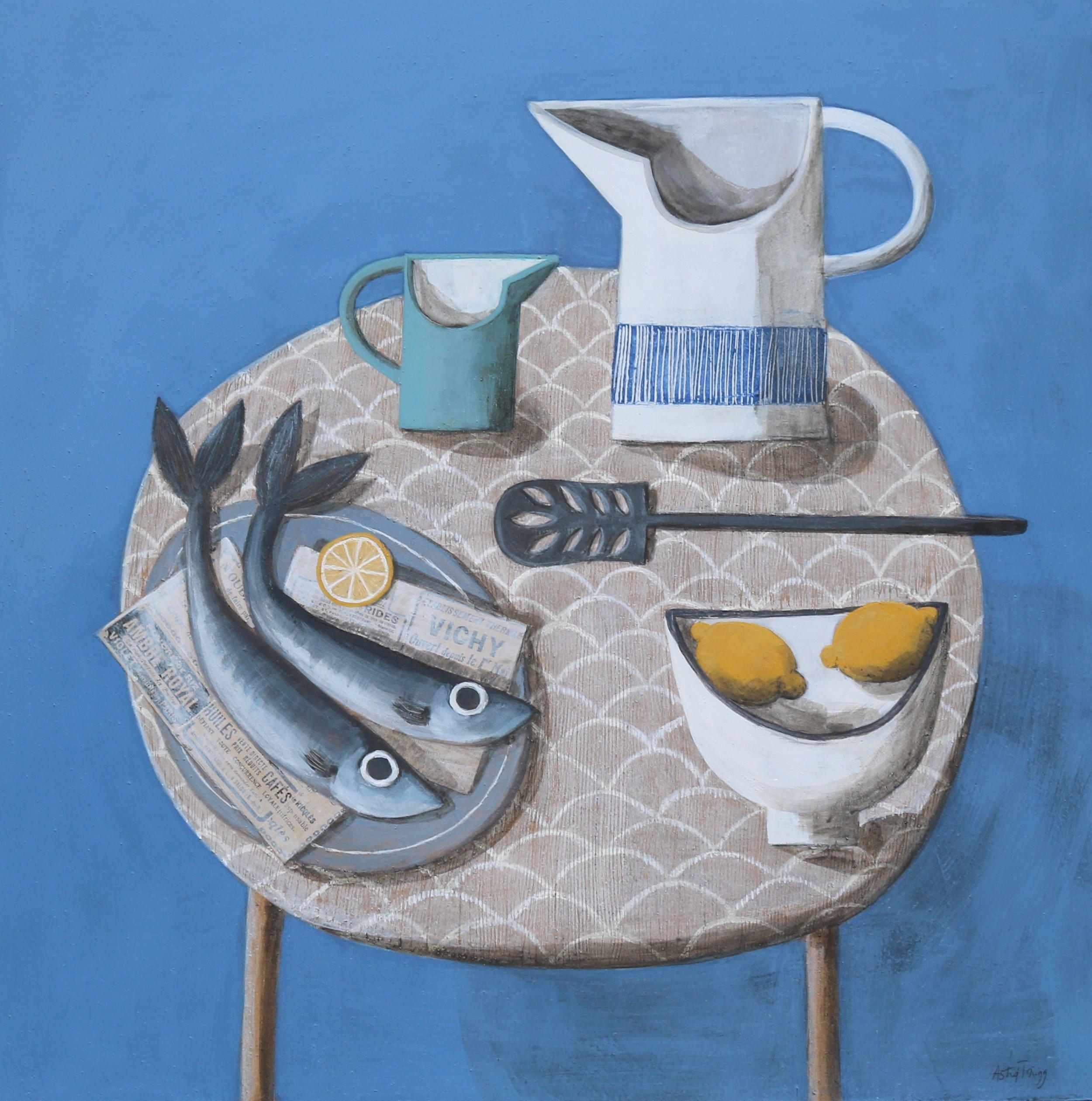Astrid Trugg Work Still life in blue with jugs and fish (medium).jpg