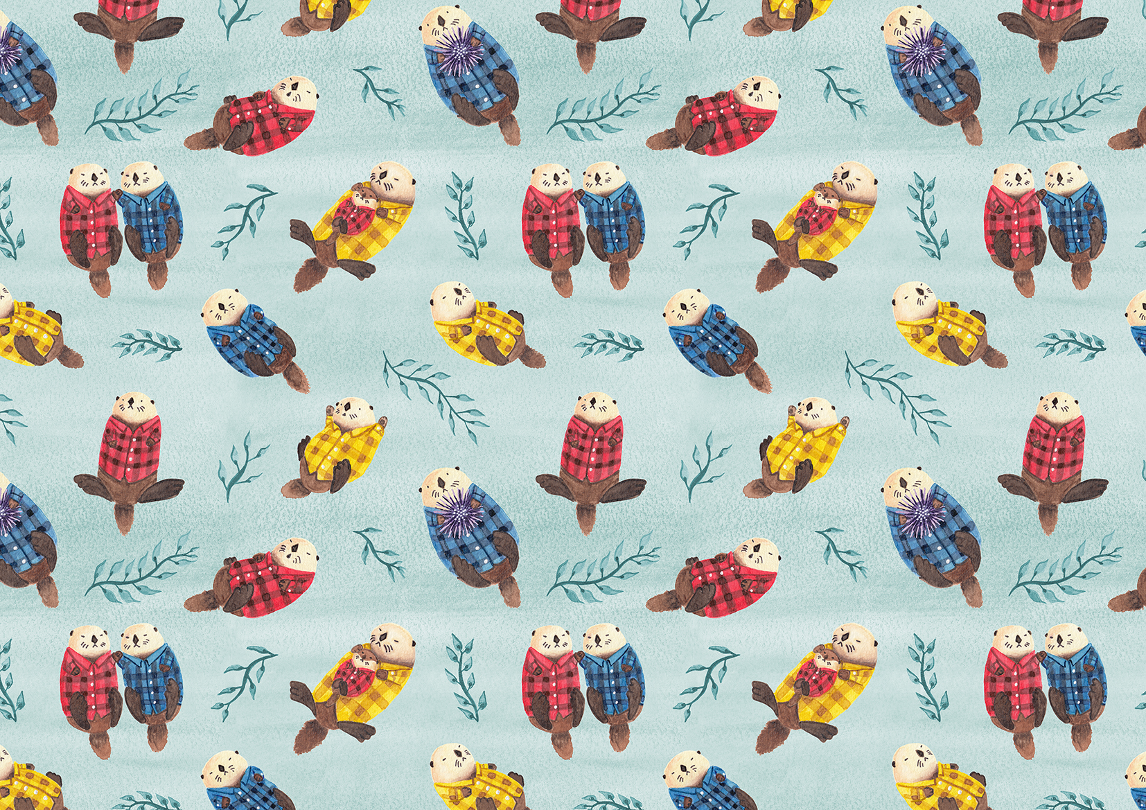 Claire Hubbard Work - Sea Otters Wearing Plaid 100dpi.jpg