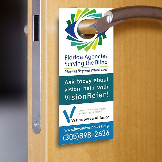 This door hanger is another part of the Dr. Referral Kit we are making for FASB. @beyondvisionlossfl #makesomething #in-ink #neverstopcreating #promo #promotionalmarketing #tradeshowbooth #tradeshow #marketing #indigoinkmarketing #comercialprinting