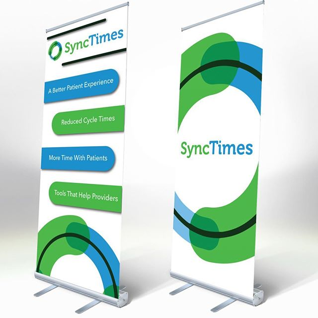 We recently made some roll up banners for SyncTimes. They used these banners along with a fitted tablecloth that we made at a trade show. If you are in need of marketing materials like these or anything with your brand on it then we are here to help you get. #makesomething #in-ink #neverstopcreating #promo #promotionalmarketing #tradeshowbooth #tradeshow #marketing #indigoinkmarketing