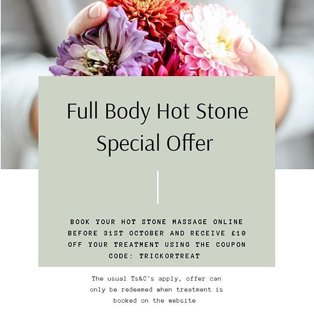 Good morning lovely folks! 👋 •  The nights are drawing in and there's a chill in the air - what better time is there for a Hot Stone massage?! •  Feel the tension in your body ease away as the muscles are softened through the heat of these gorgeous little basalt stones. •  This offer is valid for a beautifully relaxing FULL BODY Hot Stone Massage only, it needs to be booked on the NBT website (link in the bio) by Halloween using the coupon code TRICKORTREAT 🎃🎃 •  #trickortreat #hotstonemassage #fullbodymassage #easethebodiestension #specialoffer #hotstonemassageoffer #autumnoffer #autumntreat #booknow