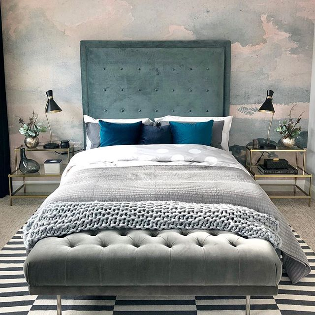 • Master Bedroom finishing touches are in place over at #projectnetzero and I'm soooo excited!!! Moody emerald drapery and jewel-toned velvet along with this painterly wall mural from @anewalldecor all work together with hints of antique brass in a monochromatic colour scheme (And a few polka dots and stripes so that things don't get too serious ⚫️⚪️⚫️⚪️)✖️Wallpaper install by the ever-talented @katieswallpaper •••