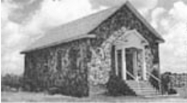 The original rock building built in 1933. The church building remained the same until 1975. - Photo by Ray Watson, courtesy of the Shiloh Museum of Ozatk History/Ray Watson collection (5-85-325-1828)