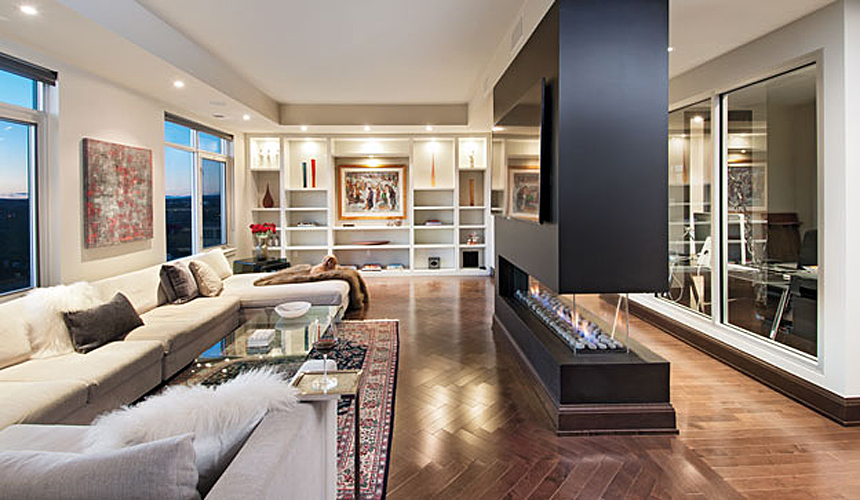 Living Room : floor-to-ceiling wall unit + fireplace 'divider'.
