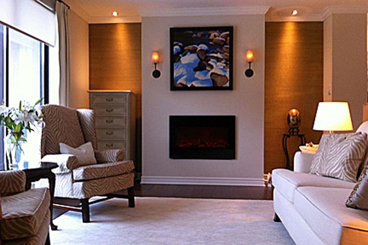 Living Room : custom fireplace wall, furniture, rug + lighting.