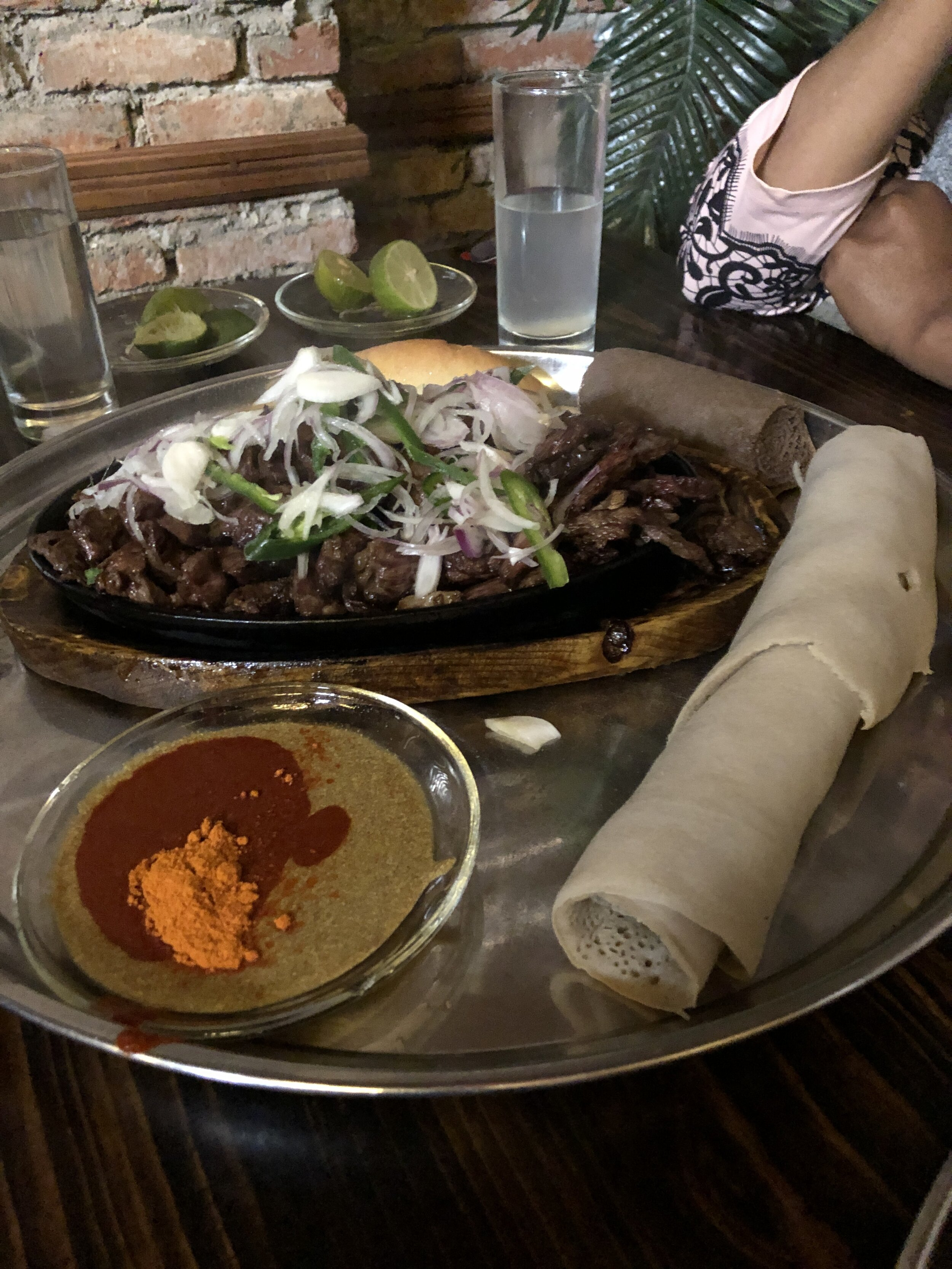 A fabulous Ethiopian meal: Tibs, Injera and Mitmita - eaten with the hands