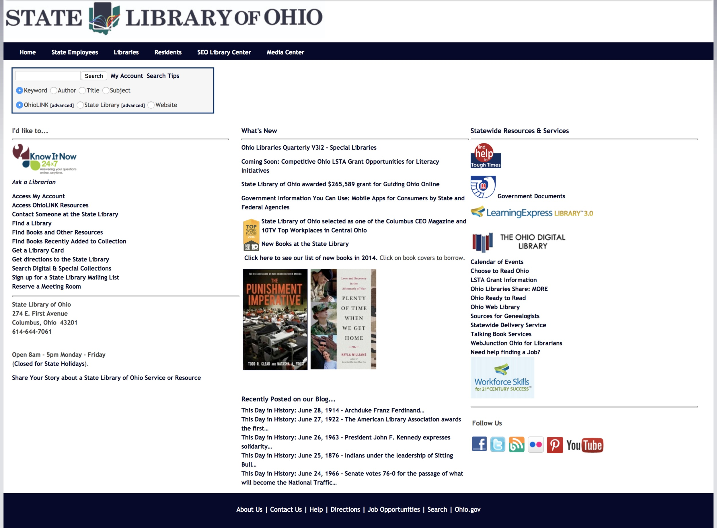 The organization of content in the old library website made it difficult to find relevant materials. The primary feature, search, was hidden.