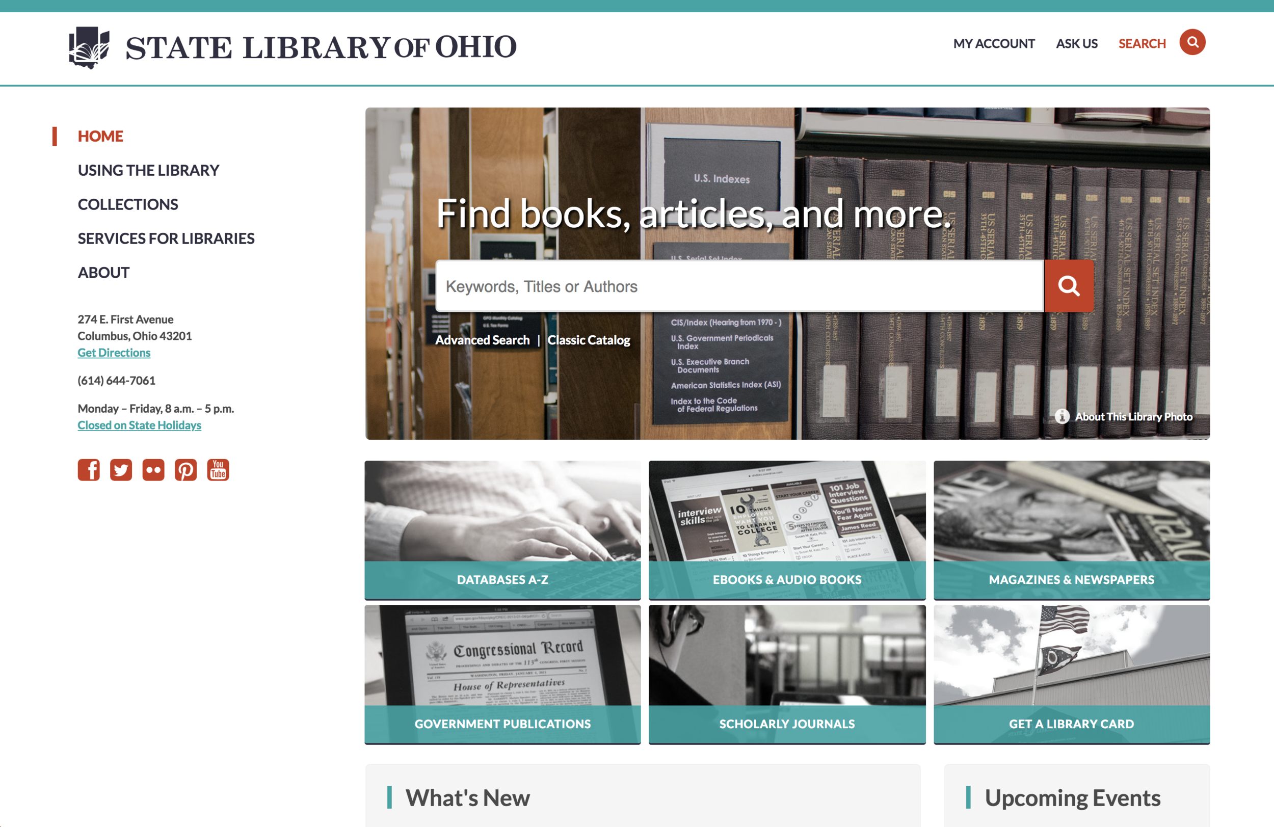 The new design highlighted search prominently on the home page. It made other key tools more readily available (databases, scholarly journals, and other collections).